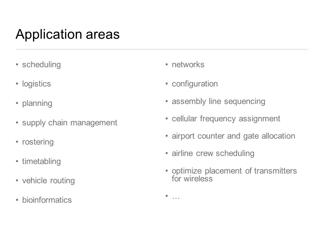 Application areas scheduling logistics planning
