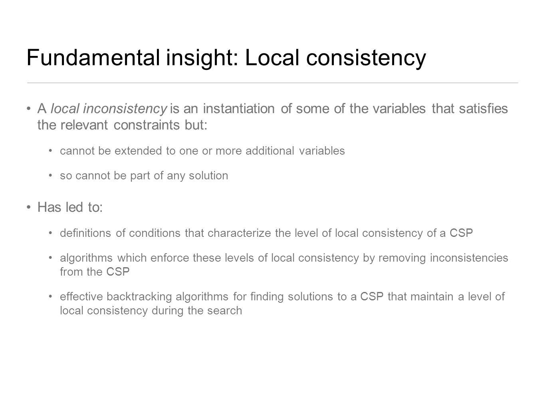 Fundamental insight: Local consistency