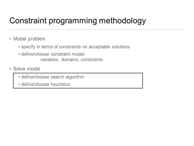 Constraint programming methodology