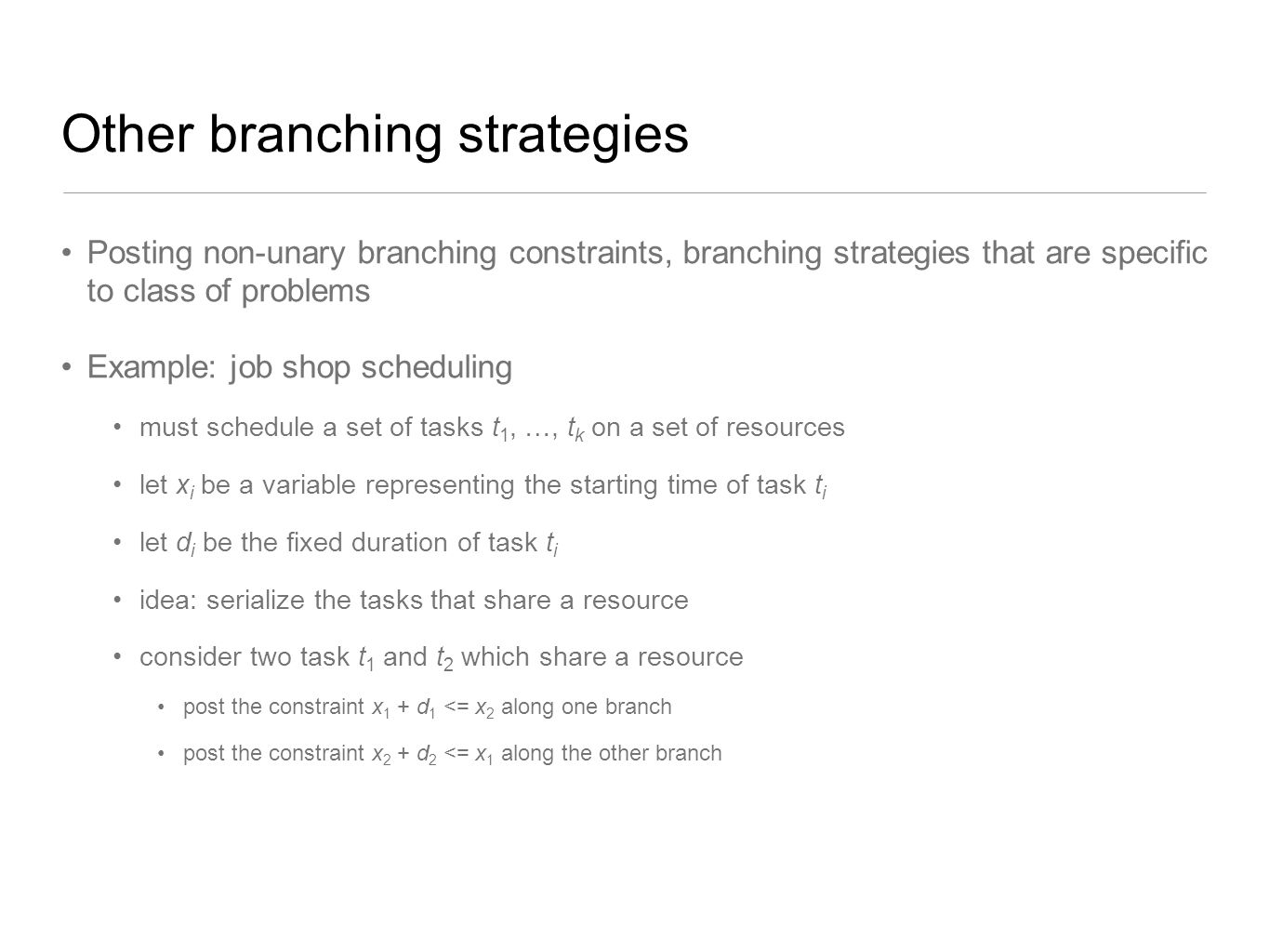 Other branching strategies
