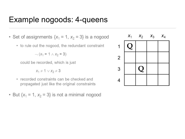 Example nogoods: 4-queens