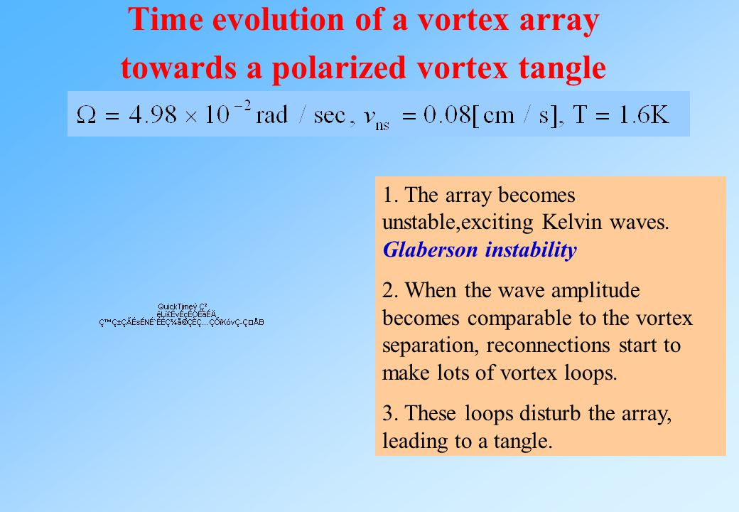 Time evolution of a vortex array towards a polarized vortex tangle