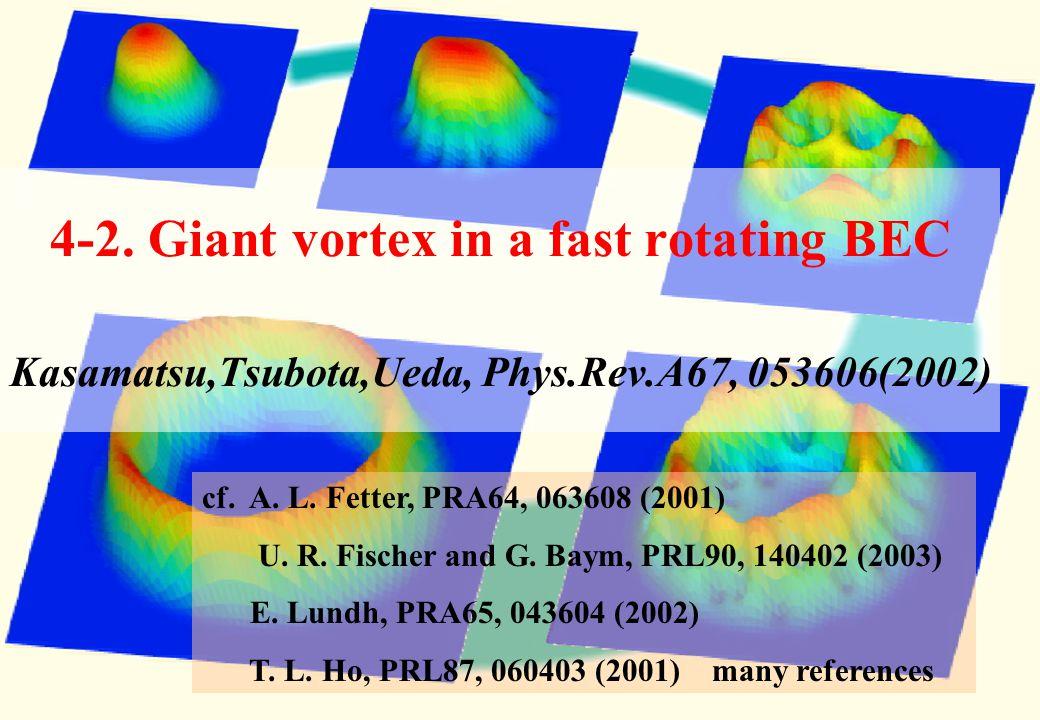 4-2. Giant vortex in a fast rotating BEC Kasamatsu,Tsubota,Ueda, Phys
