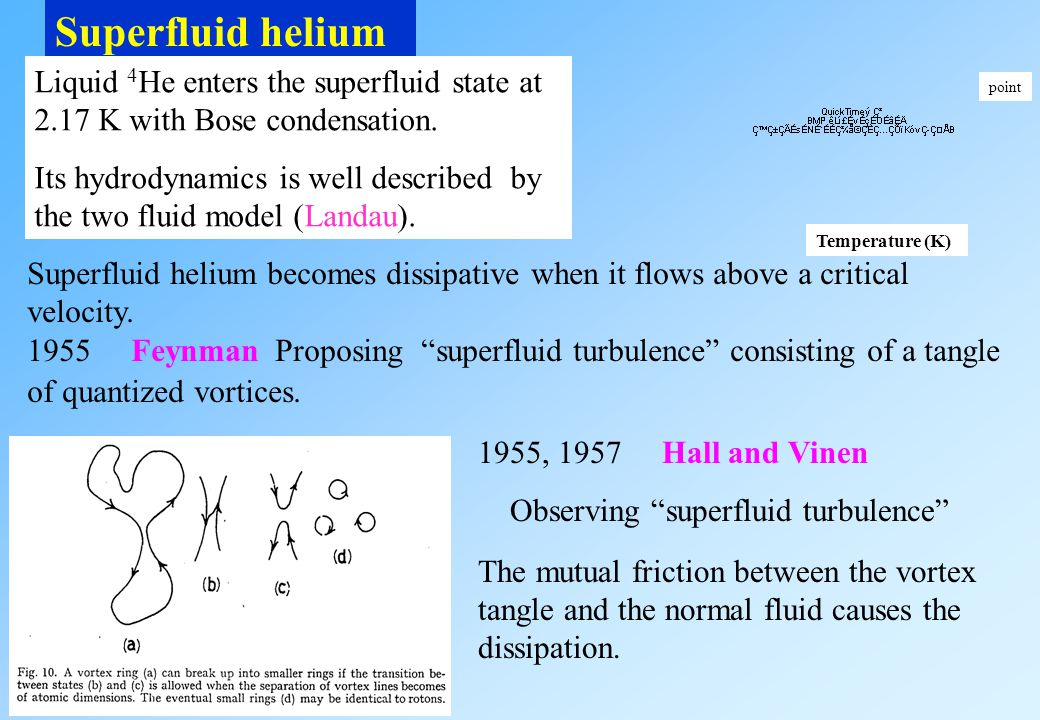 Superfluid helium Liquid 4He enters the superfluid state at 2.17 K with Bose condensation.
