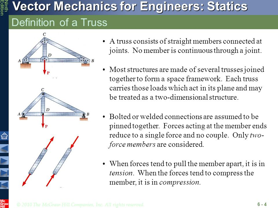 Definition of a Truss A truss consists of straight members connected at joints. No member is continuous through a joint.