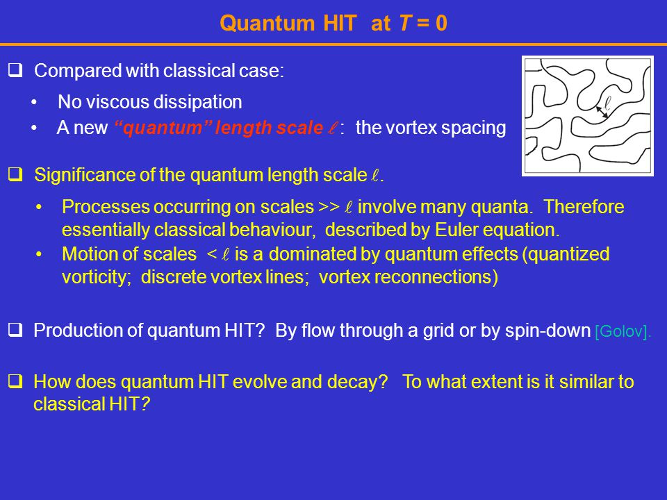 Quantum HIT at T = 0 Compared with classical case: