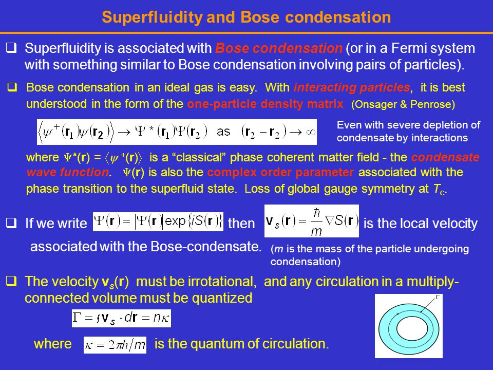 Superfluidity and Bose condensation
