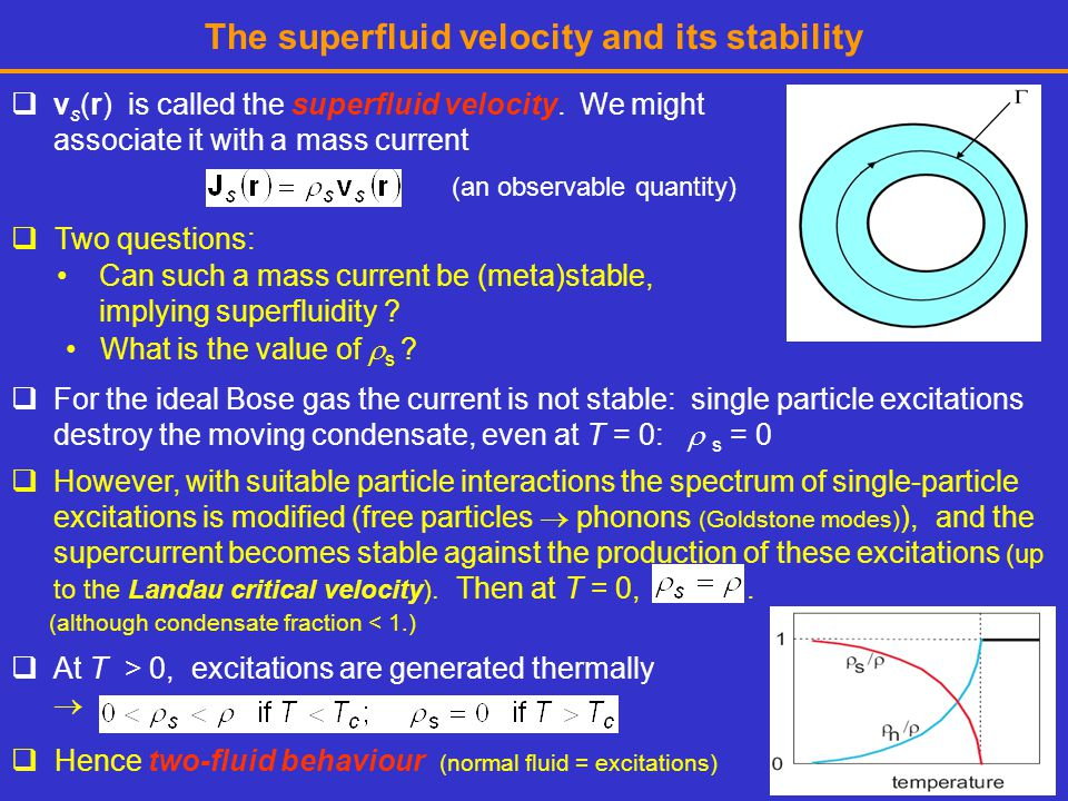The superfluid velocity and its stability