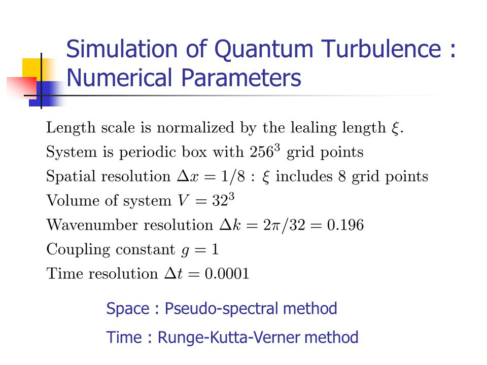 Simulation of Quantum Turbulence : Numerical Parameters