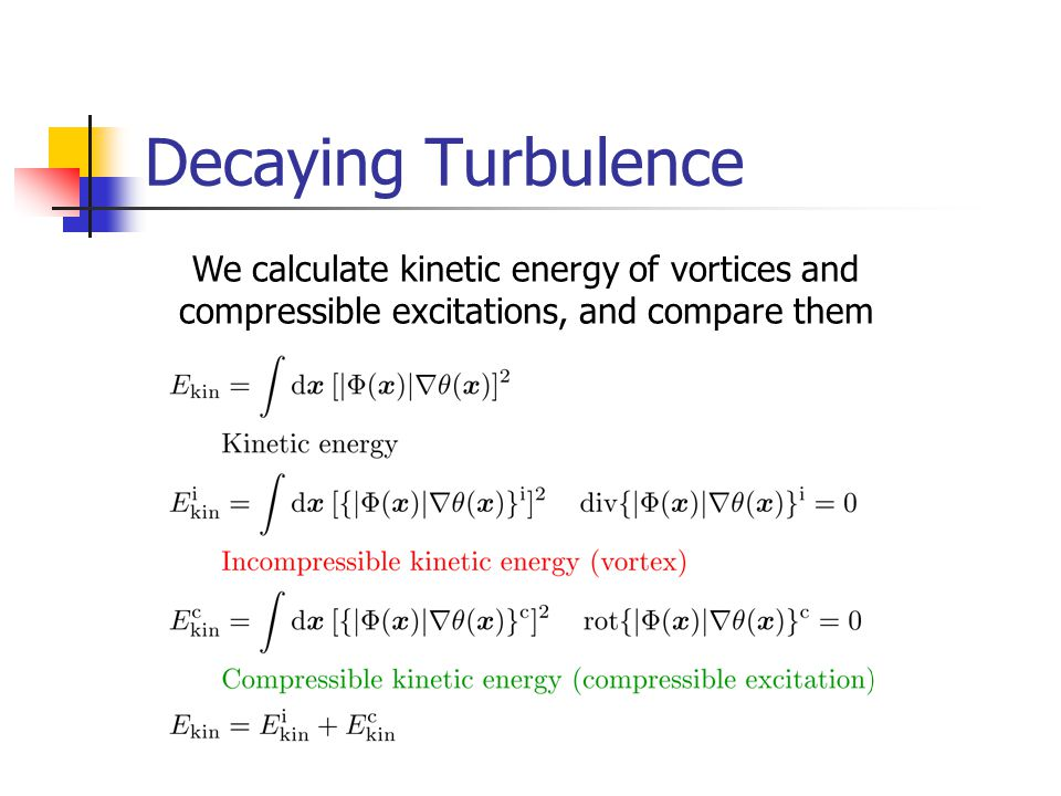 Decaying Turbulence We calculate kinetic energy of vortices and compressible excitations, and compare them.