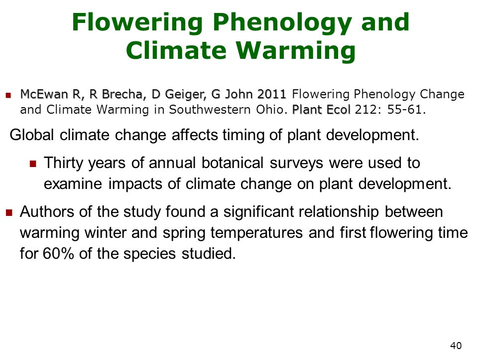 Flowering Phenology and Climate Warming