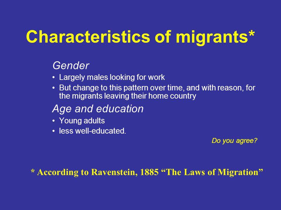 Characteristics of migrants*