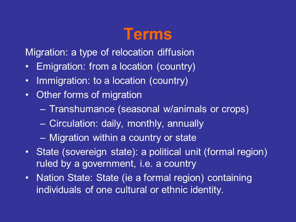 Terms Migration: a type of relocation diffusion