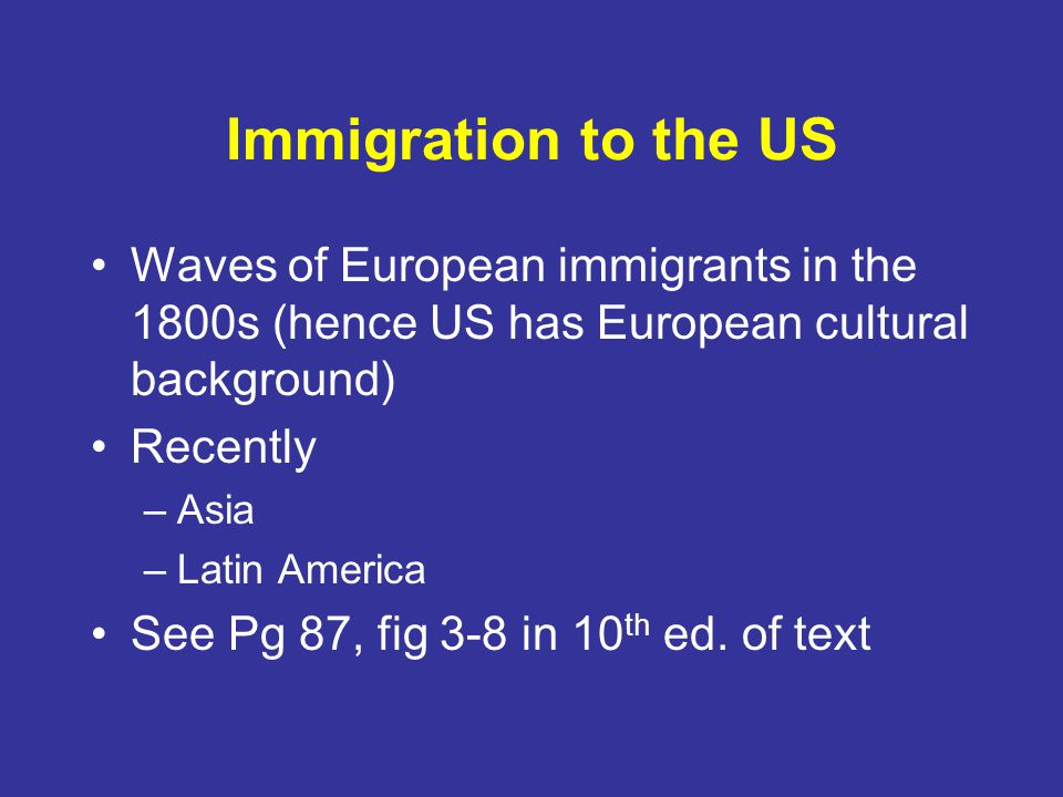 Immigration to the US Waves of European immigrants in the 1800s (hence US has European cultural background)
