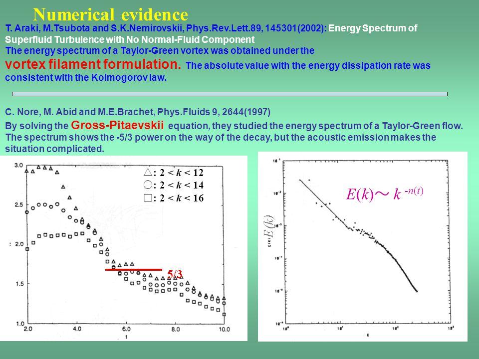 Numerical evidence E(k)〜 k -n(t)