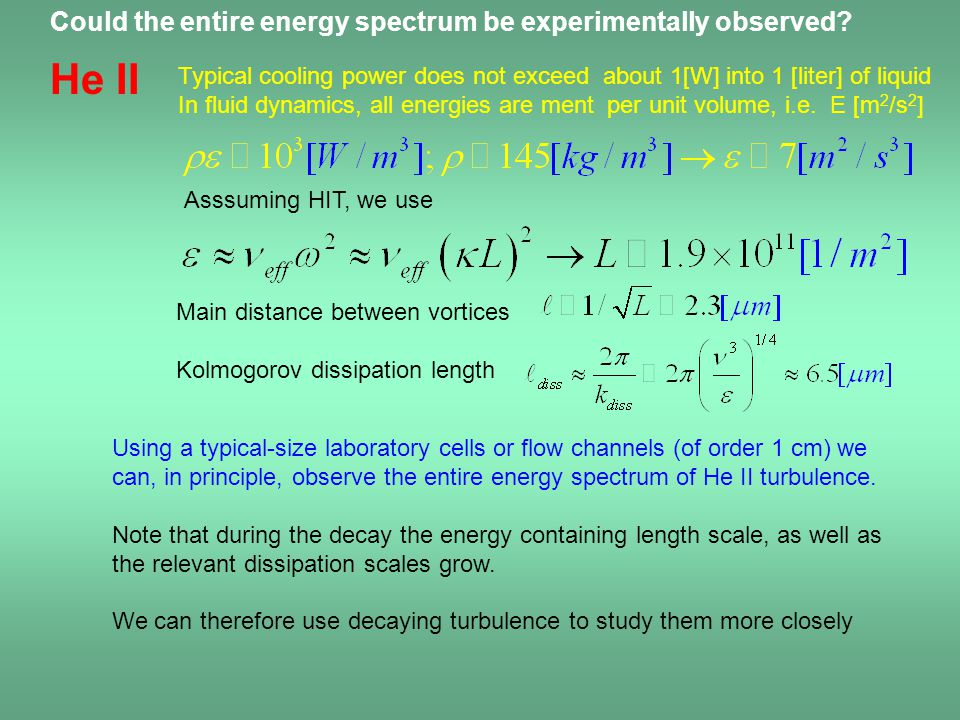 He II Could the entire energy spectrum be experimentally observed