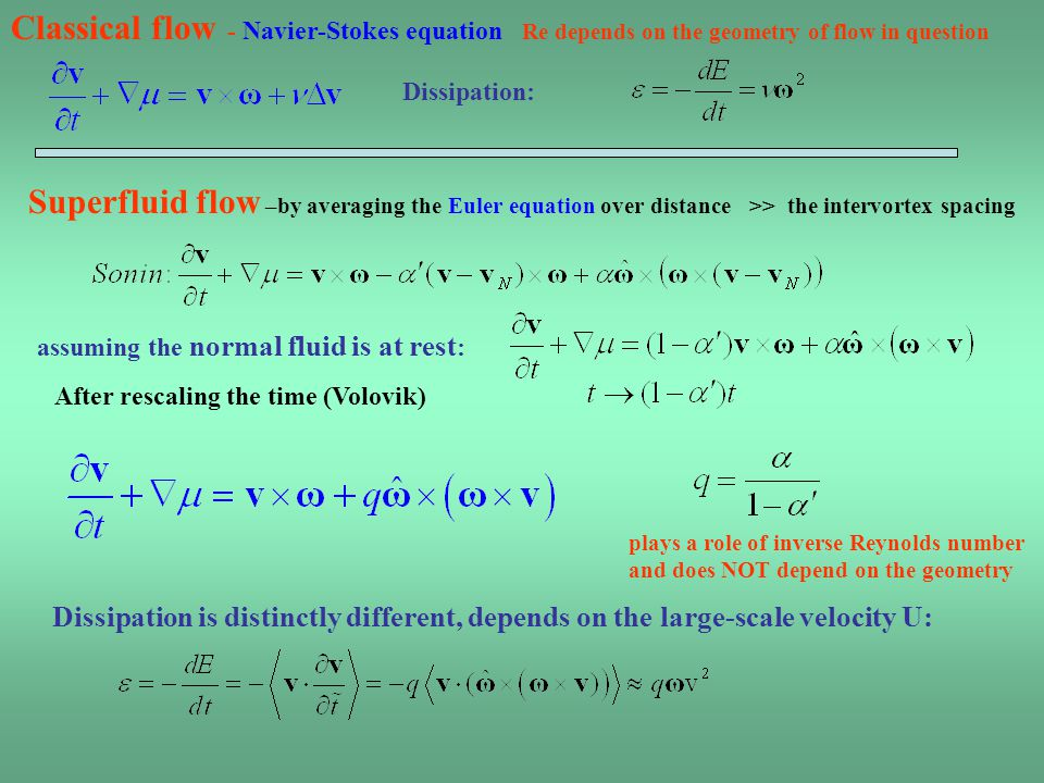 Classical flow - Navier-Stokes equation Re depends on the geometry of flow in question