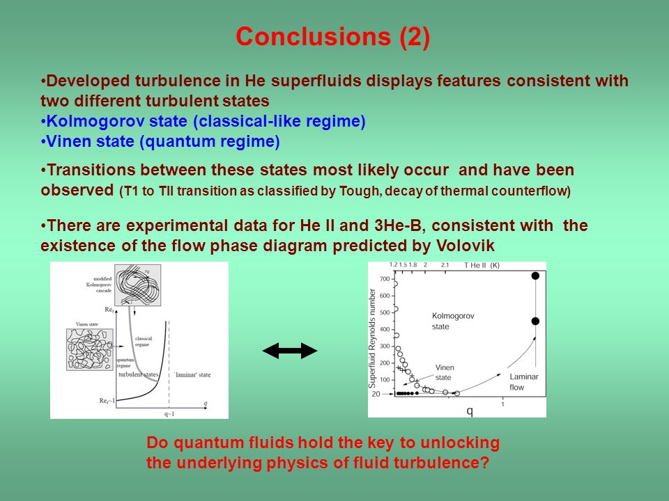 Conclusions (2) Developed turbulence in He superfluids displays features consistent with two different turbulent states.