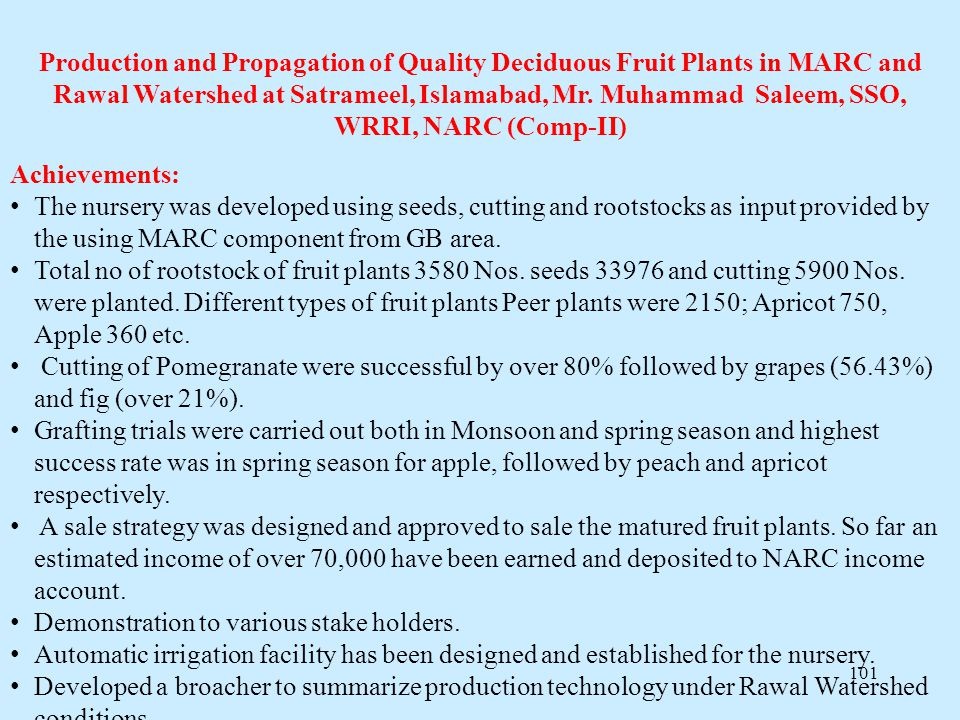 Production and Propagation of Quality Deciduous Fruit Plants in MARC and Rawal Watershed at Satrameel, Islamabad, Mr. Muhammad Saleem, SSO, WRRI, NARC (Comp-II)