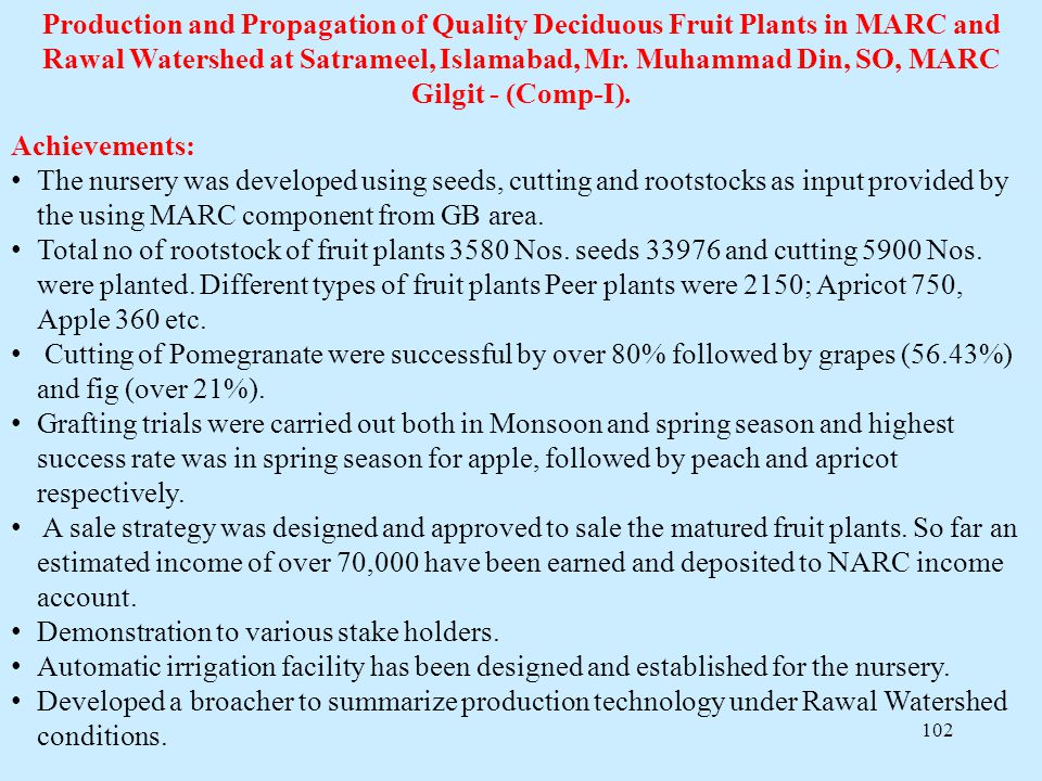 Production and Propagation of Quality Deciduous Fruit Plants in MARC and Rawal Watershed at Satrameel, Islamabad, Mr. Muhammad Din, SO, MARC Gilgit - (Comp-I).