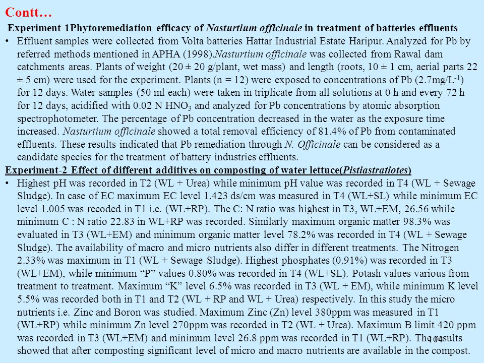 Contt… Experiment-1Phytoremediation efficacy of Nasturtium officinale in treatment of batteries effluents.