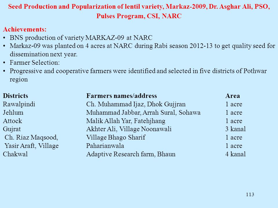 Seed Production and Popularization of lentil variety, Markaz-2009, Dr