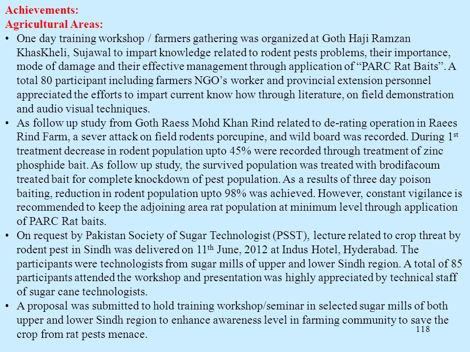 Achievements: Agricultural Areas: