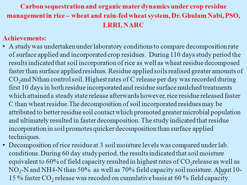 Carbon sequestration and organic mater dynamics under crop residue management in rice – wheat and rain-fed wheat system, Dr. Ghulam Nabi, PSO, LRRI, NARC