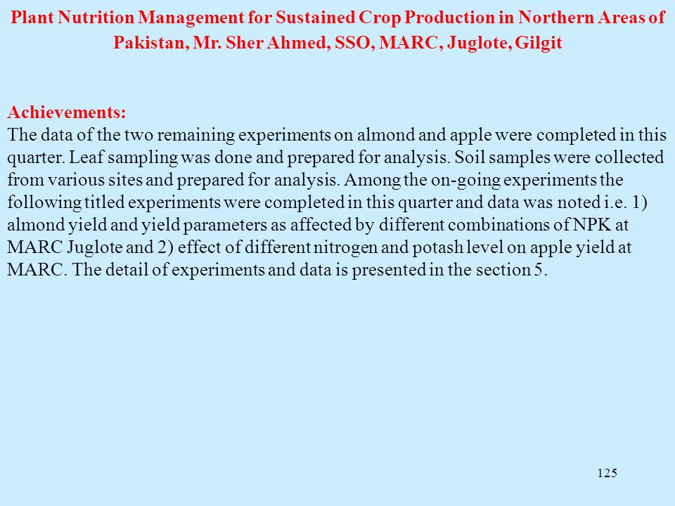 Plant Nutrition Management for Sustained Crop Production in Northern Areas of Pakistan, Mr. Sher Ahmed, SSO, MARC, Juglote, Gilgit