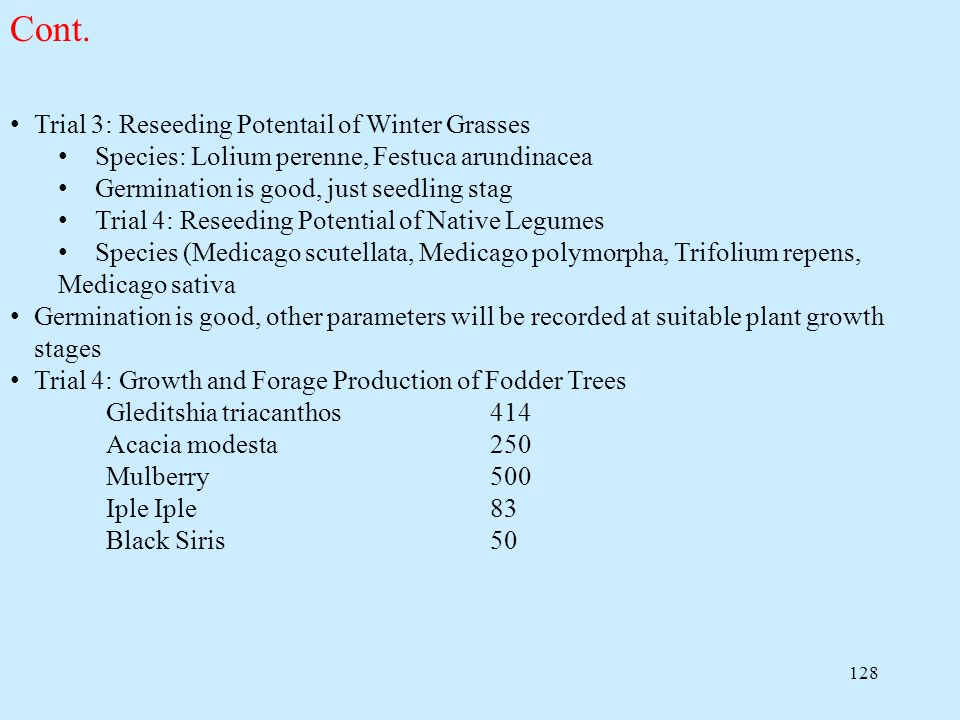 Cont. Trial 3: Reseeding Potentail of Winter Grasses