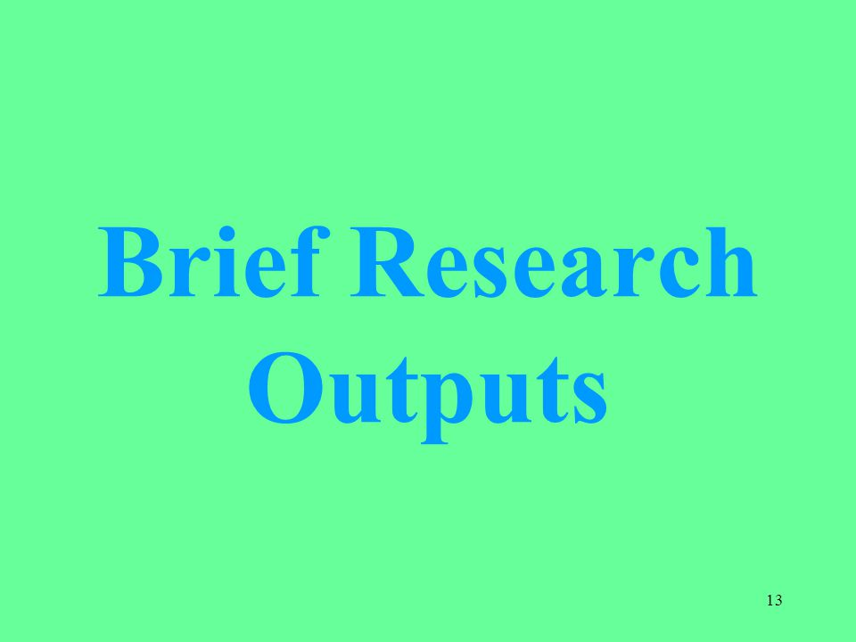 Brief Research Outputs