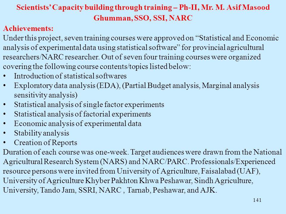 Scientists' Capacity building through training – Ph-II, Mr. M