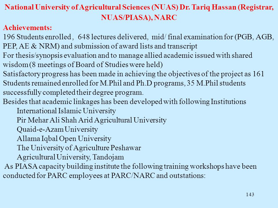 National University of Agricultural Sciences (NUAS) Dr
