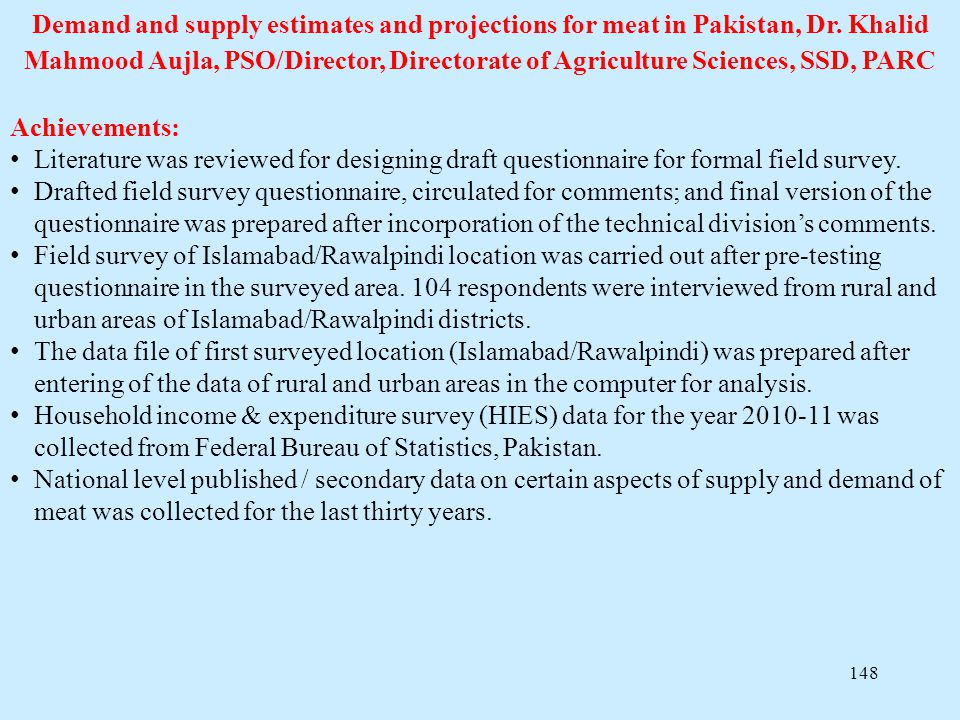 Demand and supply estimates and projections for meat in Pakistan, Dr