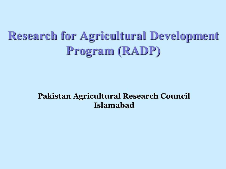 Research for Agricultural Development Program (RADP)