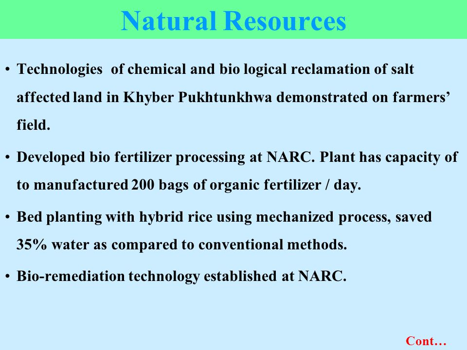 Natural Resources Technologies of chemical and bio logical reclamation of salt affected land in Khyber Pukhtunkhwa demonstrated on farmers' field.
