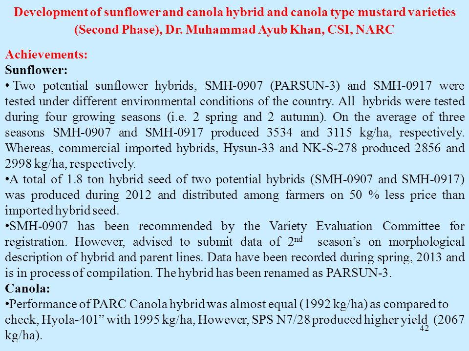 Development of sunflower and canola hybrid and canola type mustard varieties (Second Phase), Dr. Muhammad Ayub Khan, CSI, NARC