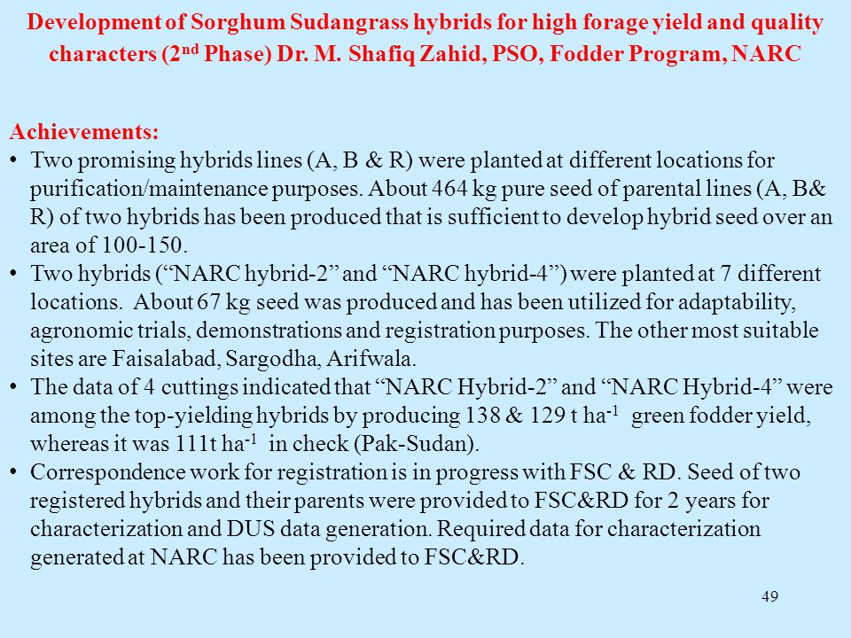 Development of Sorghum Sudangrass hybrids for high forage yield and quality characters (2nd Phase) Dr. M. Shafiq Zahid, PSO, Fodder Program, NARC