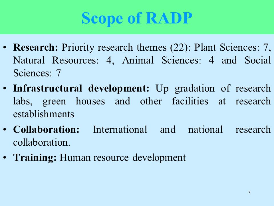 Scope of RADP Research: Priority research themes (22): Plant Sciences: 7, Natural Resources: 4, Animal Sciences: 4 and Social Sciences: 7.