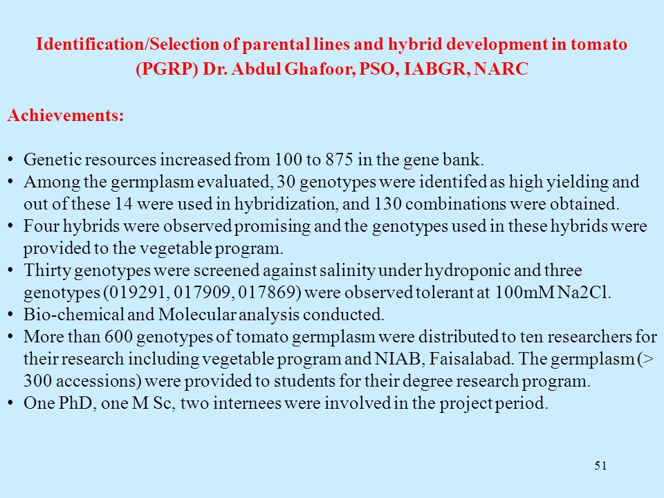Genetic resources increased from 100 to 875 in the gene bank.