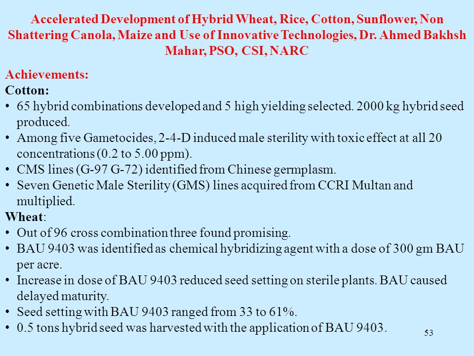 Accelerated Development of Hybrid Wheat, Rice, Cotton, Sunflower, Non Shattering Canola, Maize and Use of Innovative Technologies, Dr. Ahmed Bakhsh Mahar, PSO, CSI, NARC