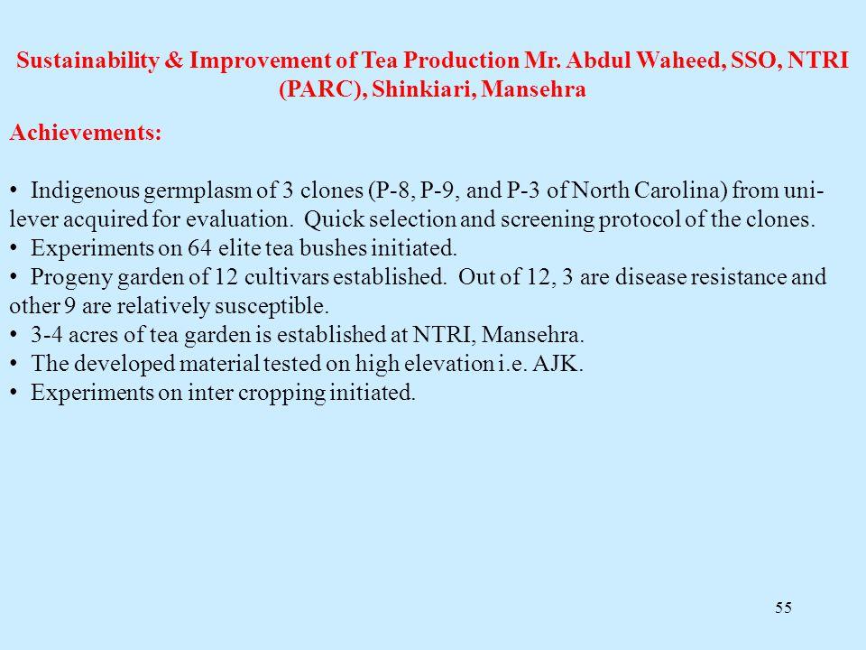 Sustainability & Improvement of Tea Production Mr