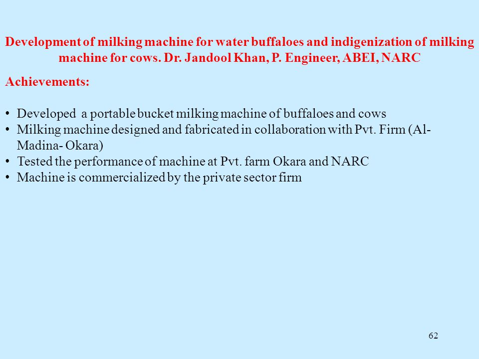 Development of milking machine for water buffaloes and indigenization of milking machine for cows. Dr. Jandool Khan, P. Engineer, ABEI, NARC