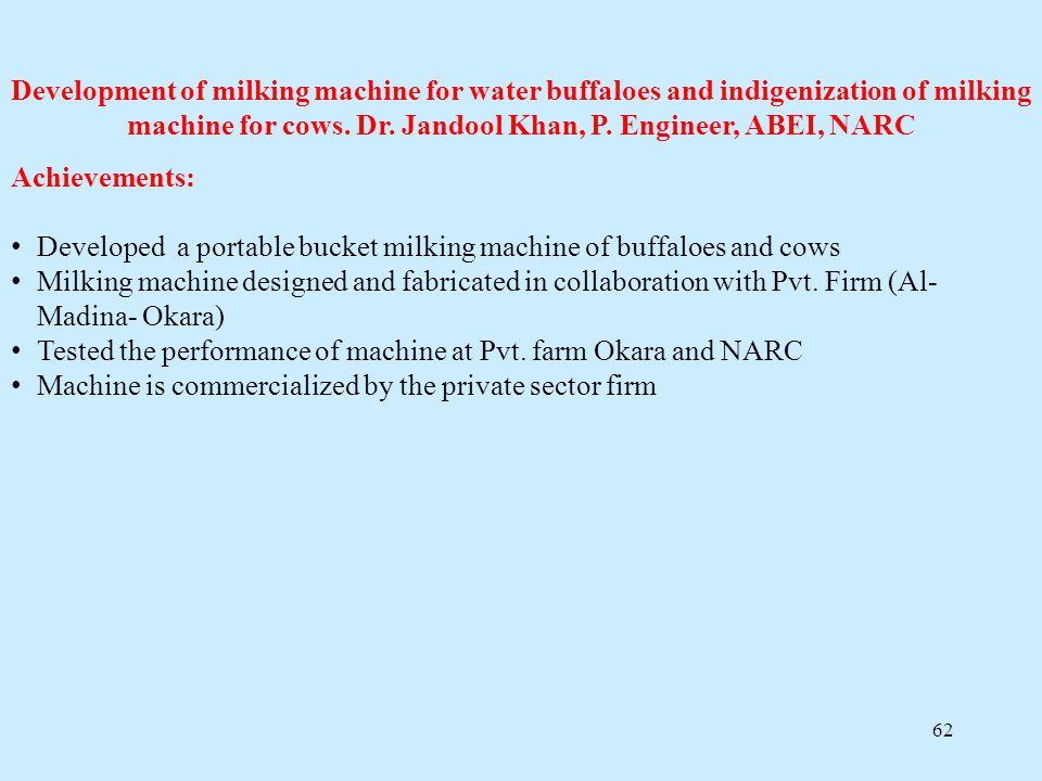 Development of milking machine for water buffaloes and indigenization of milking machine for cows. Dr. Jandool Khan, P. Engineer, ABEI, NARC