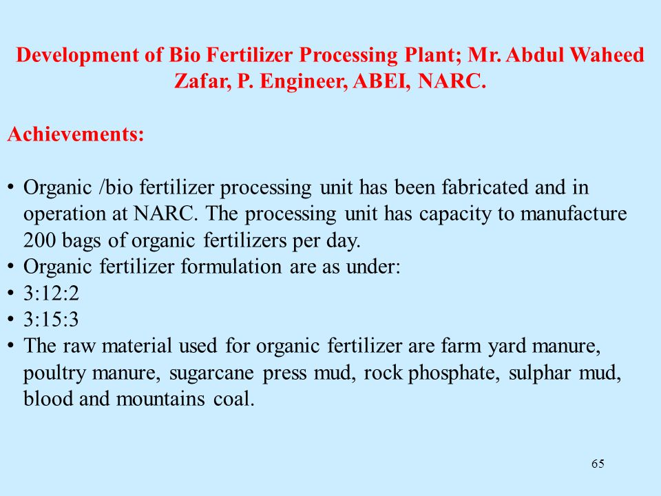 Development of Bio Fertilizer Processing Plant; Mr