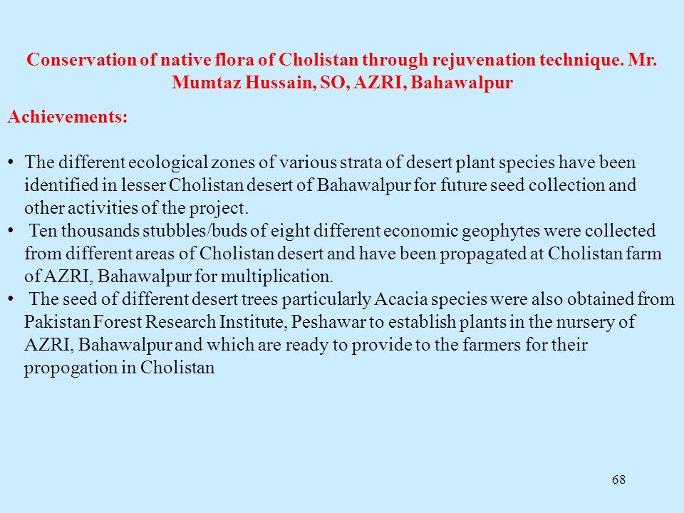 Conservation of native flora of Cholistan through rejuvenation technique. Mr. Mumtaz Hussain, SO, AZRI, Bahawalpur
