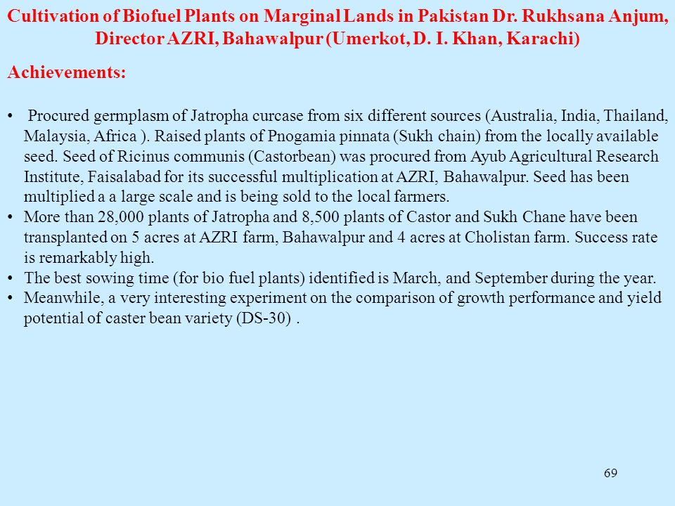 Cultivation of Biofuel Plants on Marginal Lands in Pakistan Dr