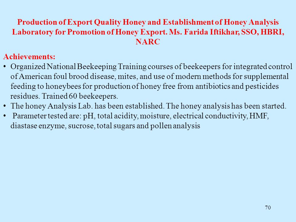 Production of Export Quality Honey and Establishment of Honey Analysis Laboratory for Promotion of Honey Export. Ms. Farida Iftikhar, SSO, HBRI, NARC