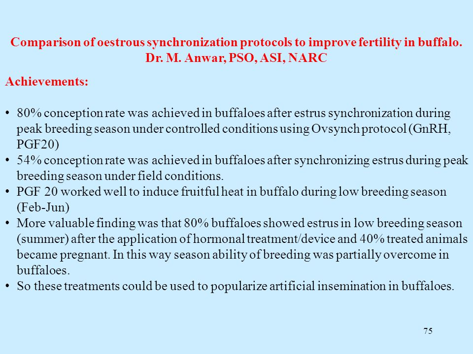 Comparison of oestrous synchronization protocols to improve fertility in buffalo. Dr. M. Anwar, PSO, ASI, NARC
