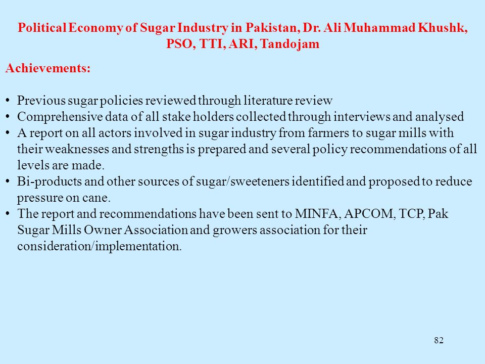 Political Economy of Sugar Industry in Pakistan, Dr